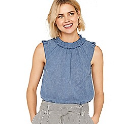 Oasis - Pale denim linen look ruffle neck top