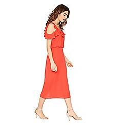 Oasis - Bright orange frill cold shoulder midi dress