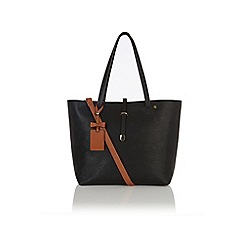 Oasis - Black 'Sunny' shopper with bow tag