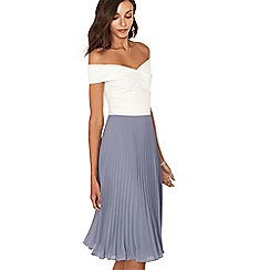 Oasis - Multi colourblock bardot pleat midi dress
