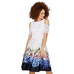 Oasis - Multi grey hydrangea lace top bardot dress