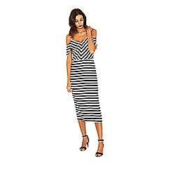 Oasis - Stripe cold shoulder midi dress