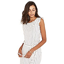 Oasis - Black and white linen look pinstripe shell top