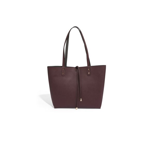 Burgundy shopper reversible bag bow Oasis tie xw6fxZ