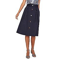 Oasis - Navy button through skirt