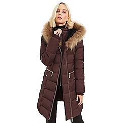Oasis - Burgundy 'Yarmouth' long padded coat