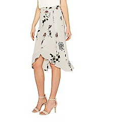 Oasis - Multi natural 'Natural History Museum' floral wrap skirt