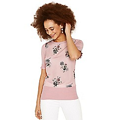 Oasis - Pale pink 'Natural History Museum' woven front frill knit