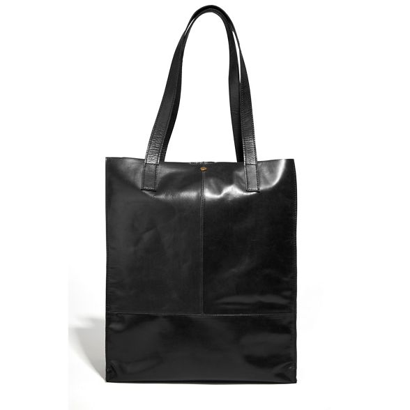 leather bag shopper unlined Oasis Black Pw0XUE