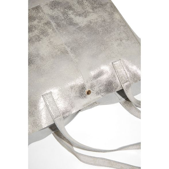 Oasis leather bag unlined Silver shopper qrwSqHnT