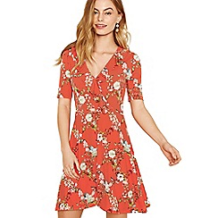 Oasis - Multi orange trellis ruffle wrap dress