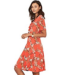 Oasis - Multi orange long length trellis ruffle wrap dress