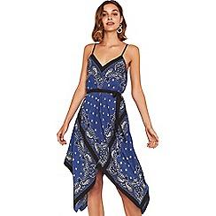 Oasis - Multi blue 'Bonita' bandana hankey hem dress