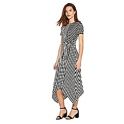 Oasis - Black and white asymmetric stripe dress