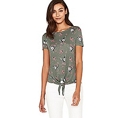 Oasis - Multi green small flower tie front t-shirt