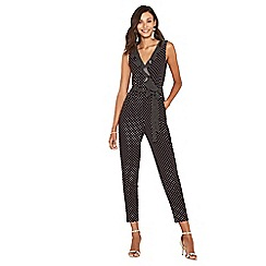 Oasis - Black with white spots ruffle jumpsuit