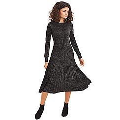 Oasis - Silver 'Rachel' lurex pleat dress