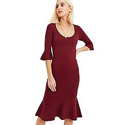 Oasis - Burgundy 'Jessica' knit fish tail dress