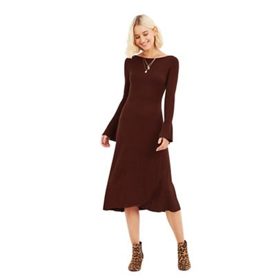 Oasis   Mid Brown 'ruth' Rib Swing Dress by Oasis