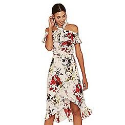 Oasis - Multi natural savage beauty bardot midi dress