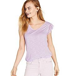 Oasis - Lilac v neck frill slub t-shirt