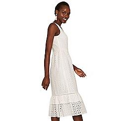 Oasis - Off white broiderie peplum midi dress