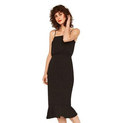 Oasis Black square neck peplum midi dress   Debenhams 9d716bcebc
