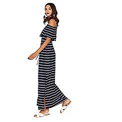 Oasis - Multi blue stripe bardot maxi dress