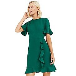 Oasis - Bright green ruffle texture dress