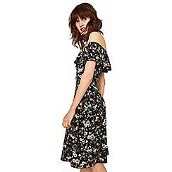 Oasis - Multicoloured black prairie bardot dress