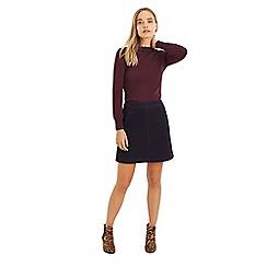 Oasis - Navy pocket cord skirt