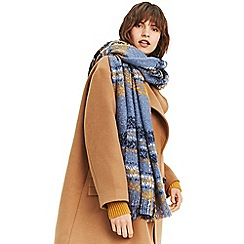 Oasis - Mid blue boucle check scarf