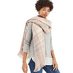 Oasis - Pale pink boucle check scarf