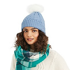 Oasis - Mid blue 'Cassie' cable pom beanie