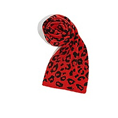 Oasis - Mid red leopard cosy scarf