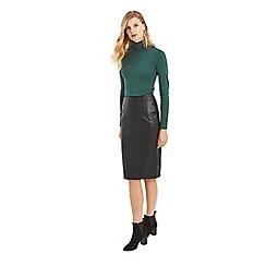Oasis - Black leather pencil skirt
