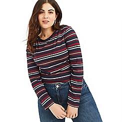 Oasis - Multi Curve collegiate stripe boatneck top