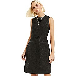 Oasis - Black long length sparkle tweed dress