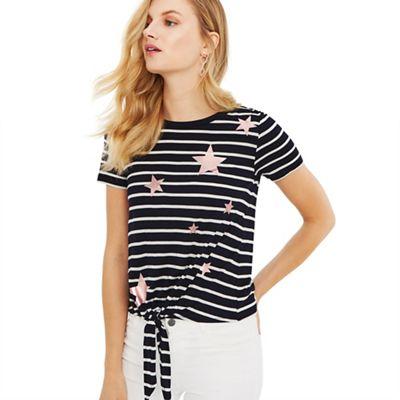 5ab6447c4f4f Oasis Multi star foil stripe tie front t-shirts | Debenhams