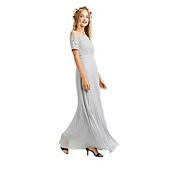 Oasis - Pale grey 'Holly' lace top bardot pleat maxi dress