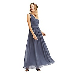 Oasis - Mid grey 'Maddie' one shoulder chiffon maxi dress