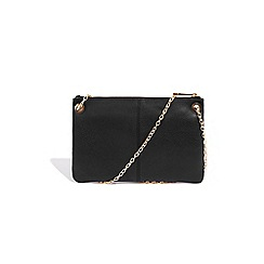 Oasis Black Leather Leoni Clutch Bag