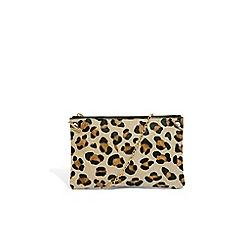 Oasis - Animal leather 'Leoni' leopard clutch bag