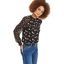 Oasis - Multi black 'Frieda' floral patched top