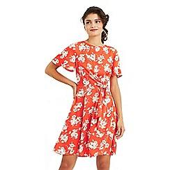 Oasis - Multi red foulard floral tie waist skater dress