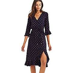 Oasis - Multi blue heart wrap midi dress