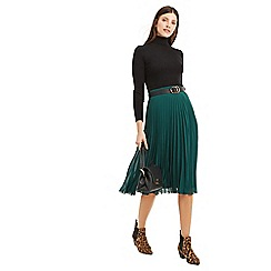 Oasis - Bright green pleated skirt