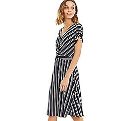 Oasis - Multi blue stripe twist dress