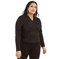 Oasis - Multi Black Curve Rib Wrap Knit