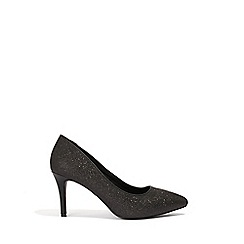 Oasis - Black Glitter 'Carly' Court Shoes